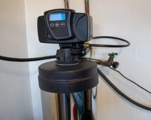 Top view of a water softener system